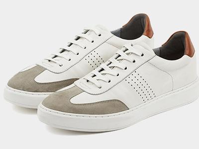 迪迈奇白色板鞋男真皮商务休闲鞋平板
