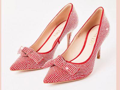 sense1991女鞋紅色浪漫婚鞋鑲鉆尖頭羊皮高跟鞋