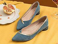茵曼女鞋2020春新款小香風平底鞋女尖頭鞋
