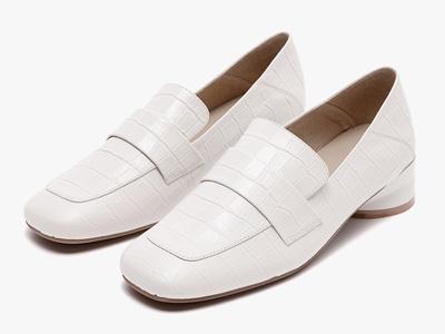 sense1991女2020新款春季粗跟方頭樂福鞋