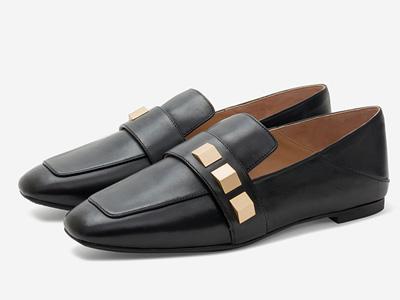 湯普葛羅2020年春夏一腳蹬方頭低跟平底樂福鞋