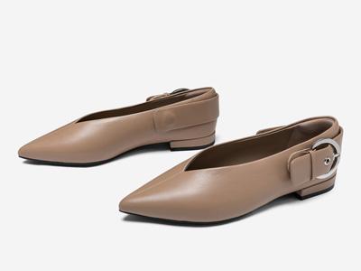 汤普葛罗休闲百搭简约尖头深口低跟单鞋春新款