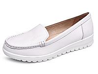 金猴皮鞋春季新款休闲皮鞋女士套脚小白鞋