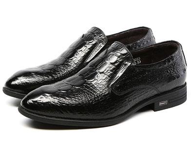鳄鱼恤男鞋新款时尚舒适套脚商务正装鞋