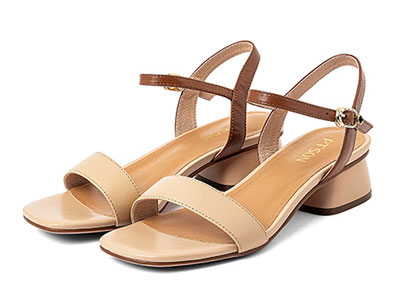 百田森2020夏季新款一字带凉鞋女粗跟百搭