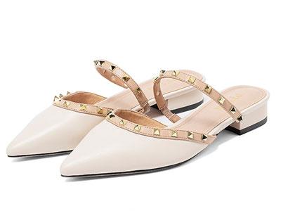 百田森2020新款尖头穆勒鞋女低跟仙女风