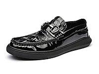 兽霸鳄鱼纹休闲皮鞋男士2020新款漆皮乐福鞋