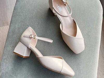 ZHR一字带包头凉鞋2020新款女鞋夏季高跟鞋