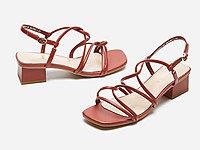 热风女鞋2020年夏季新款粗跟时尚复古方跟凉鞋