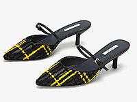 圆漾女鞋春季单鞋女性感一字带拼接格纹低跟单鞋
