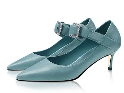 香阁儿2020春季新款细跟高跟鞋方扣水钻皮鞋