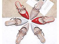 色非2020新款春季真皮穆勒鞋平底尖头鞋