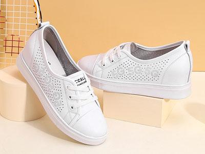 高蒂内增高小白鞋女2020夏季新款镂空平底浅口