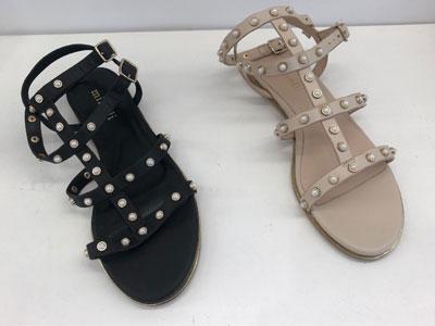 Minelli-牛皮珍珠鑲嵌平底涼鞋