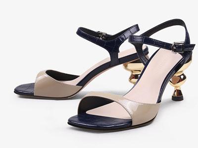 翡丽玫瑰jadyrose2020新款露趾一字带真皮凉鞋