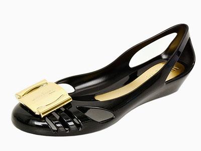 FERRAGAMO菲拉格慕女士蝴蝶结坡跟中跟皮鞋