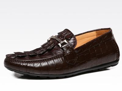 BONISY鳄鱼皮皮鞋男商务休闲鞋