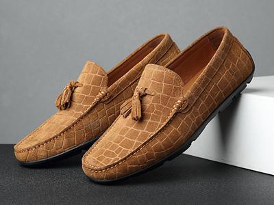 报喜鸟新款夏季豆豆鞋男真皮磨砂英伦休闲鞋
