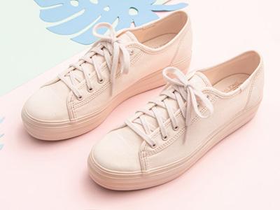 Keds粉嫩少女休闲鞋厚底帆布鞋