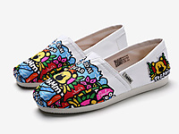 Tt&Mm汤姆斯一脚蹬懒人手绘涂鸦帆布鞋