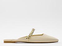 ZARA新款-女鞋-米色��l�露跟平底鞋
