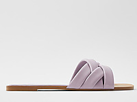 ZARA-紫色方�^交叉�ЫW�p平底�鲂�