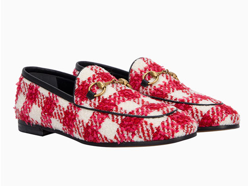 Gucci古驰红白拼色织物格纹马衔扣平底鞋