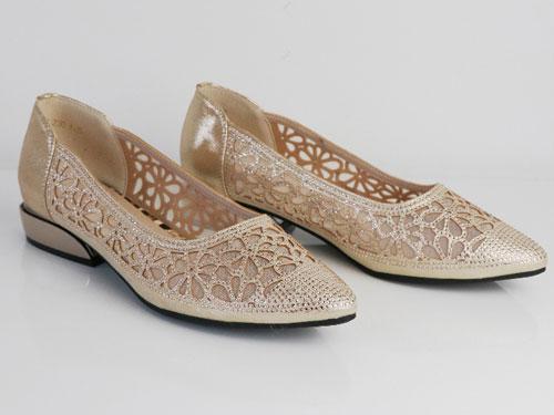 茉莉花2020新款女鞋镂空头层牛皮镶钻单鞋