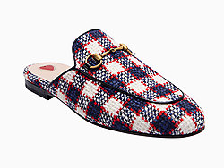 Gucci古奇白蓝红拼色格纹穆勒鞋