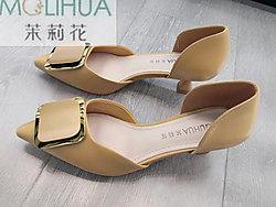 茉莉花女鞋新品OL低跟时尚女半凉鞋