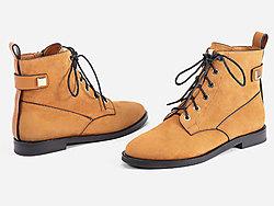 万里马女鞋时尚短靴女冬季新款系带低跟马丁靴