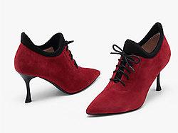 万里马女鞋性感尖头细高跟短靴女冬季新款单靴