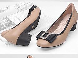 Cosie-Walk酷斯沃粗跟浅口鞋女圆头中跟单鞋