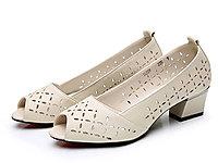 登云真皮鱼嘴鞋牛皮粗跟凉鞋夏季中跟女鞋