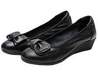 登云真皮坡跟女单鞋舒适百搭牛皮女鞋妈妈鞋单鞋