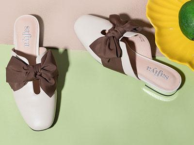 索菲婭春秋款穆勒鞋蝴蝶結舒適平底可外穿拖鞋