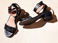 法蒂娜2020新款牛皮女鞋欧美粗跟鞋凉鞋