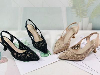 安嘉莉女鞋2020夏季新款百搭网纱仙女高跟鞋