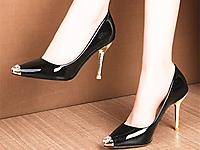 都市比拉女鞋新款黑色尖路时装高跟鞋