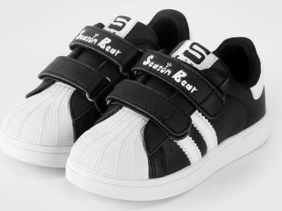 四季熊一腳蹬童鞋貝殼鞋兒童鞋小白鞋