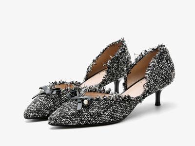 歌斯东尼2020春季新款女鞋细中跟蝴蝶结尖头中空