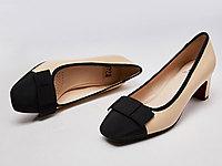 马内尔新款2020中跟单鞋小香风羊皮真皮女鞋