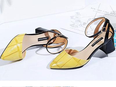 欧蔓莎新品韩版真皮里性感中空粗高跟鞋