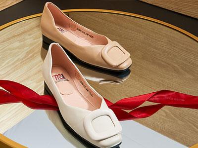 马内尔真皮夏新款芭蕾单鞋通勤低跟浅口单鞋