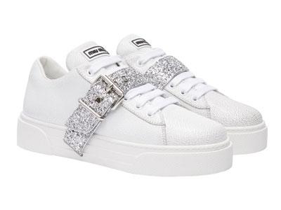 Miu-Miu缪缪-白色女士休闲鞋小白鞋运动鞋