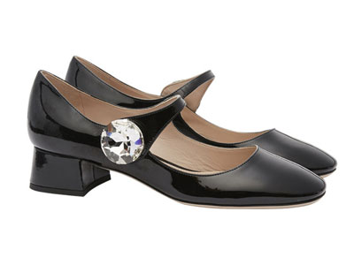 Miu-Miu缪缪-多色亮钻装饰女士复古粗跟玛丽珍鞋