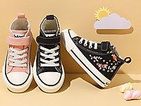 芭芭鸭儿童帆布鞋女童高帮休闲板鞋