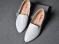 达利拉尖头低跟单鞋女真皮女士小跟皮鞋