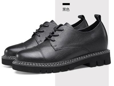 赫升隱形內增高女鞋2020秋季新款真皮休閑皮鞋