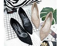 雨薇露露�n版黑色工作鞋2020尖�^中跟�跟高